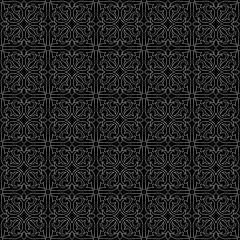 Seamless black&white abstract floral pattern. Lines, strokes. Decorative lattice in Arabic style. Tiles, arabesque. Swatch is included in EPS file.