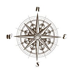 Compass wind rose, vintage. Sketch vector illustration