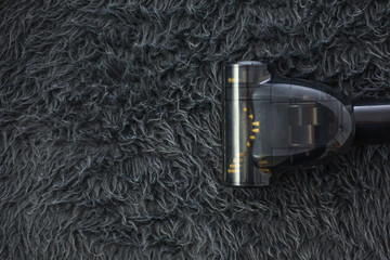 Carpet cleaning with vacuum cleaner and copy space