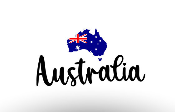 Australia country big text with flag inside map concept logo
