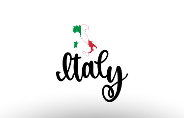 Italy country big text with flag inside map concept logo