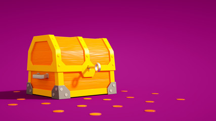 Chest with key and coins on purple background. 3D illustration.