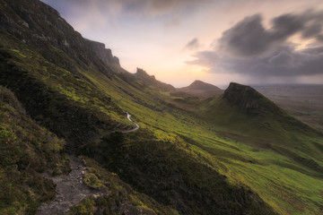 Scenic sight of the Quiraing, Isle of Skye, Scotland.