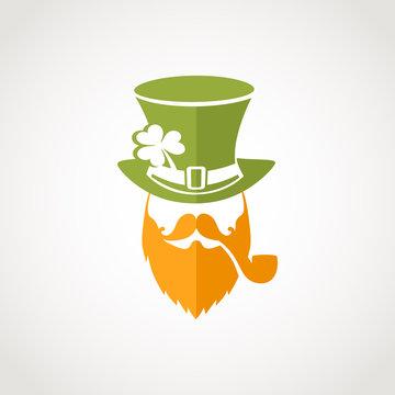 Leprechaun flat logo for St. Patrick's day