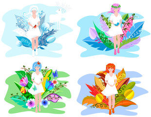 Floral girls. Four seasons abstraction concept for your design with surreal flowers.