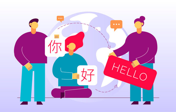 Vector flat translation design concept of  big modern people, holding cards with word Hello in chinese and english. Trendy language courses, translation agency illustration with earth globe.