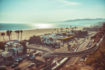 Sunset in Santa Monica monochrome vintage toned