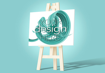 Easel and Canvas Mockup