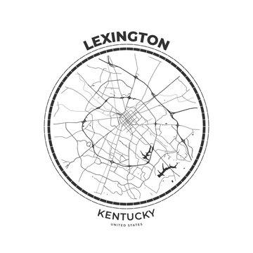 T-shirt map badge of Lexington, Kentucky