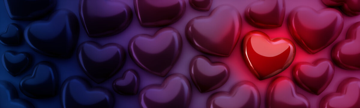 Świecące czerwone serce wśród innych serc