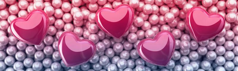 Różowe serca na tle pereł