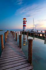 Lighthouse at Lake Neusiedl at sunset near Podersdorf, Burgenland, Austria