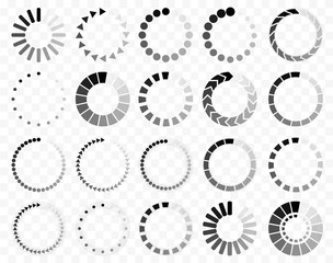 Download signs pack 20 in 1 on transparent background. Load icon. Data loading bar. Vector stock illustration