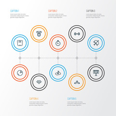 Sport icons line style set with scale, hockey, score display and other archery  elements. Isolated vector illustration sport icons.
