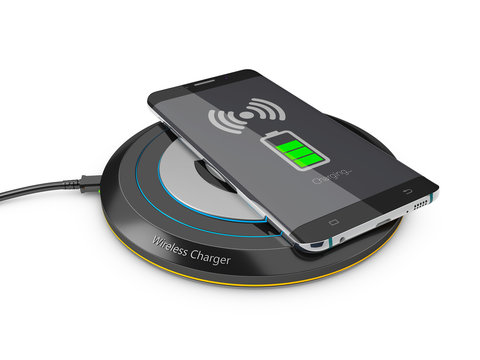 3d Illustration of Smartphone charged by wireless charger on wardrobe