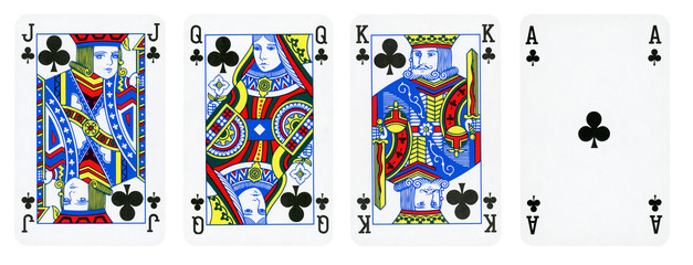 Clubs Suit Playing Cards, Set include King, Queen, Jack and Ace - isolated on white