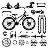 Bicycles  Set of bicycle parts  Start flag  Isolated vector image