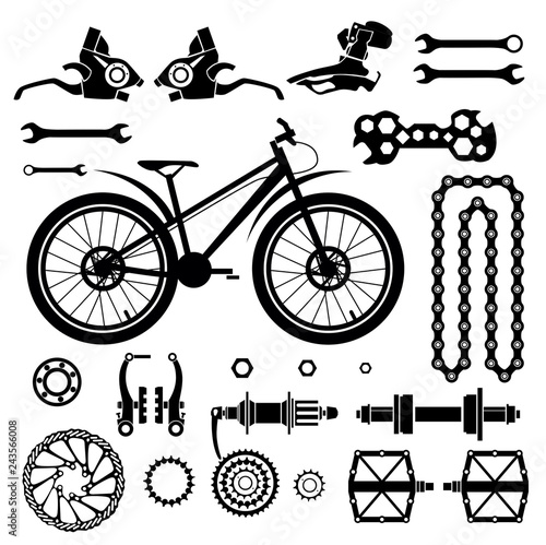 Bicycles Set Of Bicycle Parts Isolated Vector Image Stock Image