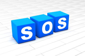 3D rendered illustration of the word SOS.