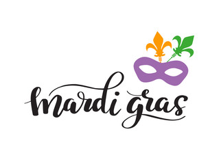 Mardi Gras Lettering Phrase. Vector Holiday Banner with Royal Lily Element and florishes designs.