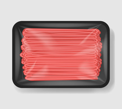 Minced meat in plastic tray container with cellophane cover. Mockup template for your design. Plastic food container. Vector illustration.