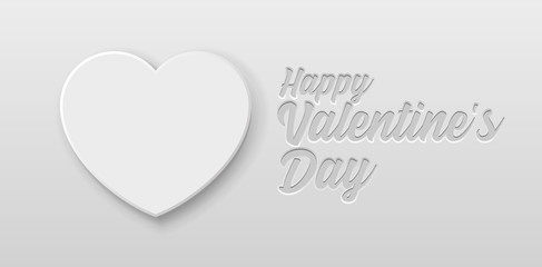 Valentine's Day Banner 3D Heart Background. White, Gray, Light, Grayscale. Postcard, Love Message or Greeting Card. Place For Text. Ready For Your Design, Advertising. Vector Illustration. EPS10