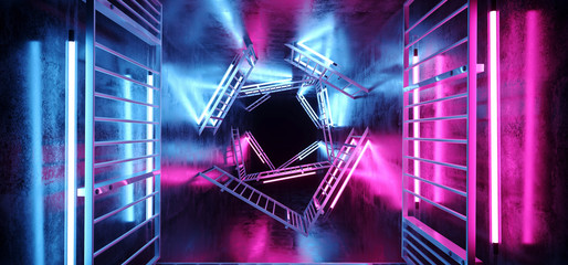 Sci Fi Futuristic Alien Vibrant Neon Glowing Purple And Blue Tube Lights On Metal Rectangle Structures In Dark Empty Grunge Concrete Tunnel Corridor 3D Rendering