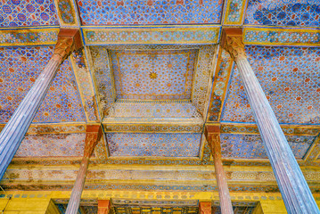 The colorful ceiling of Chehel Sotoun Palace in Isfahan, Iran