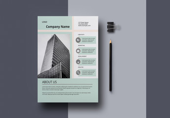 Business Flyer Layout with Pale Green Accents