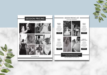 Photography Business Pricing List Layout
