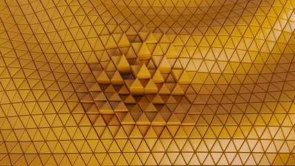 abstract backdrop background cells clear color yellow futuristic graphics hexagon, matrix modern network pattern tech triangle wall wallpaper- Illustration 3D