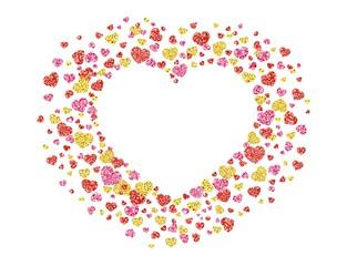 Frame of glittering heart shaped confetti. Postcard. Vector illustration