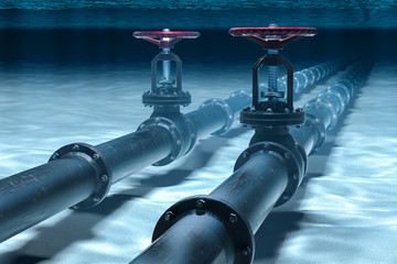 Pipeline lying on ocean bottom underwater. 3D rendering