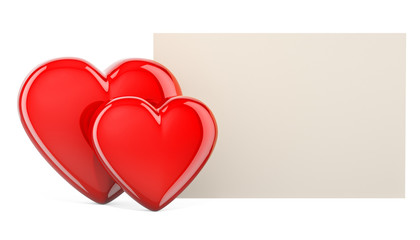 Blank Valentines card with red hearts concept, 3D rendering