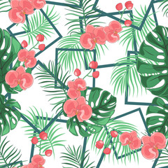 Abstract wild seamless floral pattern with geometric shapes. Flower pattern with hand drawn wild flora. Wild blooming seamless pattern for wallpapers, backgrounds, textures. Vector illustration.