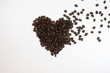 Roasted Coffee Beans background texture isolated on white background with copy space for text