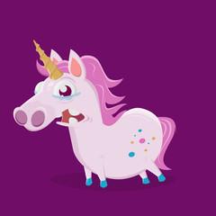 funny cartoon illustration of a sad unicorn