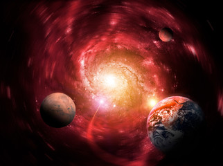 Gravity of a massive black hole delays the planets. End of the world. Elements of this image furnished by NASA.