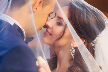Close-up of newlyweds who are covered with a wedding veil and wa