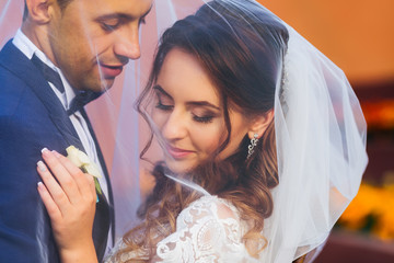 Close-up of newlyweds covered with a wedding veil embracing each