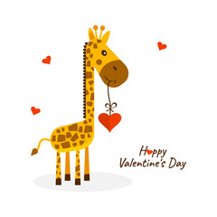 Greeting card for Saint Valentine's Day. Cute giraffe with heart. Vector illustration