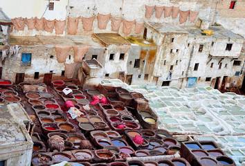 Curtidurias para elaborar el cuero en Marruecos