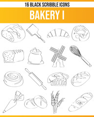 Scribble Black Icon Set Bakery I
