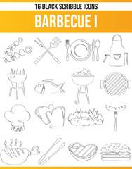 Scribble Black Icon Set Barbecue I