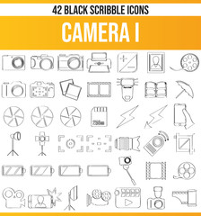 Scribble Black Icon Set Camera I