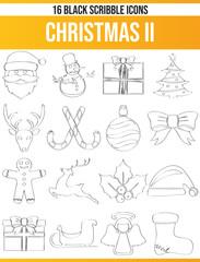 Scribble Black Icon Set Christmas II