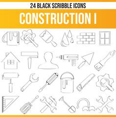 Scribble Black Icon Set Construction I