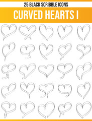 Scribble Black Icon Set Curved Hearts I