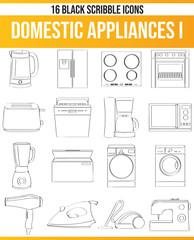 Scribble Black Icon Set Domestic Appliances I