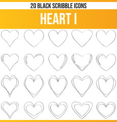 Scribble Black Icon Set Heart I
